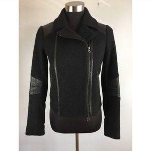 Jackets & Blazers - Vince Womens Moto Jacket Black Wool Lamb Size XS